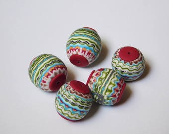 Unique Handmade Polymer Clay Beads, set of 5 artisan beads