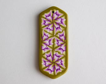 Polymer Clay Pendant, green and purple fractal design