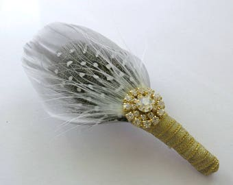 Corsage Wedding Pin Brooch Mother of the Bride Mother of the Groom  Grey Ivory Crystal Unique Brooch