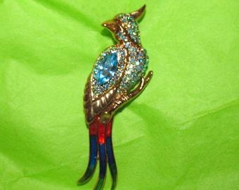 Vintage Aqua Rhinestone and Enamel Parrot Brooch
