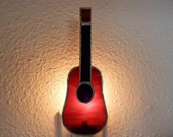 Guitar Stained Glass Night Light, Music, Brown, Instrument, Plug In, On Off Switch, Lead free Solder, Handmade, C7