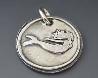 ON SALE Fine Silver Mermaid Charm /  I'd rather be a Mermaid  /Mermaid Pendant / Silver Mermaid Necklace / Beach Jewerly / Ocean / Gifts for