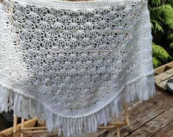 Crocheted clouds triangle shawl