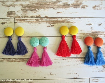 Tassel Button Earrings, Button Studs, Button Jewelry,Fabric Button Earrings,Tassel Earrings, Tassel Studs,Fabric Jewelry, Textile Earrings