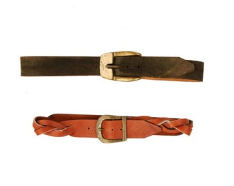 Vintage 1970's Brown Leather Side Twisted Braided Boho Belt or Dark Olive Green Brass Buckle Suede L