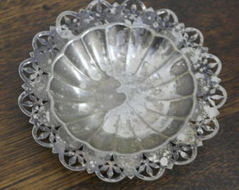 antique ornate round silver plate bowl