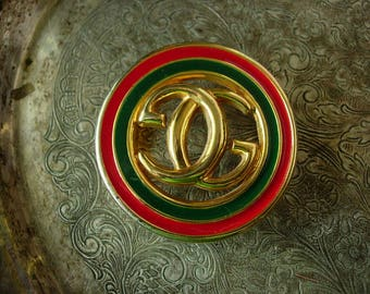 Ultra RARE Vintage GUCCI Red Green Enamel Metal Couture Statement Belt BUCKLE
