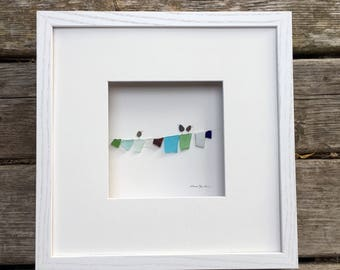 Pebble Art by Sharon Nowlan, laundry, clothesline  pebble art comes matted or framed in 12 by 12 frame.