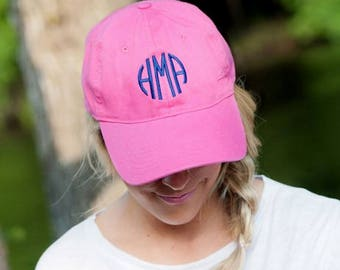 Pink Monogrammed Baseball Hat, Monogrammed Pink Baseball Cap, Womens Baseball Hat, Ladies Baseball Cap,Embroidered Hat, Custom Hat,Beach Hat