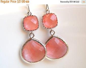 SALE Coral Earrings, Peach Earrings, Grapefruit, Pink, Silver, Glass, Bridesmaid Jewelry, Bridesmaid Earrings, Bridal Jewelry, Bridesmaid Gi