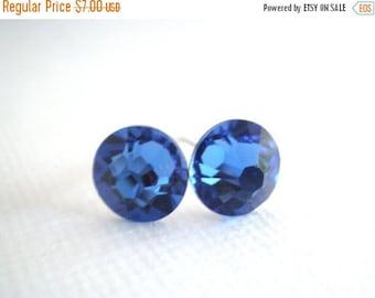 SALE Swarovski Crystal Stud Earrings, Blue Earrings, Blue Studs, Deep Blue, Crystal Earrings, Sapphire Earrings, Bridesmaid Gifts