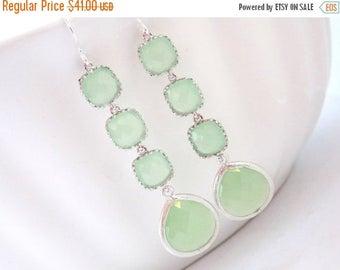SALE Silver Green Mint Earrings, Light Green Earrings, Silver Earrings, Long Earrings, Wedding Jewelry, Bridesmaid Earrings, Bridesmaid Gift