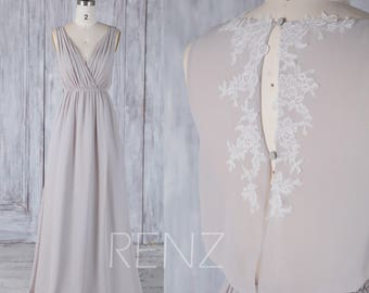 2017 Brown Gray Chiffon Bridesmaid Dress,Ruched V Neck Wedding Dress, Lace Key Hole Loose Back Prom Dress, A Line Evening Dress Floor (H511)