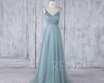 Dusty Blue Tulle Bridesmaid Dress, Spaghetti Straps Wedding Dress, Ruched Bodice Prom Dress, A Line Ball Gown Floor Length (HS451)