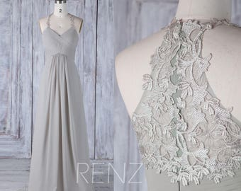 Bridesmaid Dress Medium Gray Chiffon Wedding Dress,Halter Strap Maxi Dress,Ruched Top Prom Dress,Illusion Lace Back Long Ball Gown(H440)