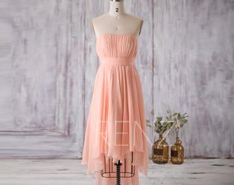 Bright Peach Chiffon Bridesmaid Dress, Strapless Party Dress, Formal Dress, High-Low Dress, Elegant Dress, Evening Dress Tea Length (F090)