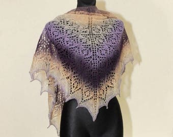 Christmas in July Sale Purple Hand Knit Shawl, Hand Knit Shawl, Ombre Knit Shawl, Beige and Purple Knit Shawl, Evening Stole
