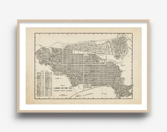 "Carmel-by-the-Sea Map, City Map, Vintage Map, Canvas Map, Map Print, Map Art, Map Wall Art, California Map, Carmel by the Sea 20 x 30"" Map"