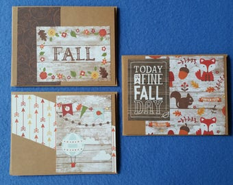 Three Fall Themed Handmade Cards - Recycled Kraft Paper Greeting Cards, Blank Cards, autumn card set