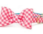Crew LaLa ™ Hot Pink Picnic Plaid Bow Tie Dog Collar