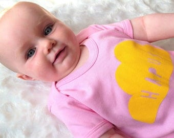 Baby Clothes Blue Skies and Candy Floss Pink Babygrow Welsh Text Hapus Happy Yellow Unisex