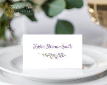 Folded Place Cards - Lavender Garden