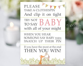 """PRE-PRINTED SALE - Baby Shower Game Cards """"Don't Say Baby"""" - Woodlands Theme Shower (Style 13725)"""