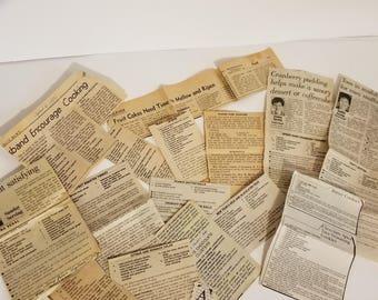 15 vintage recipe newspaper clippings old recipes ephemera lot words text art scrap paper supplies A 1x