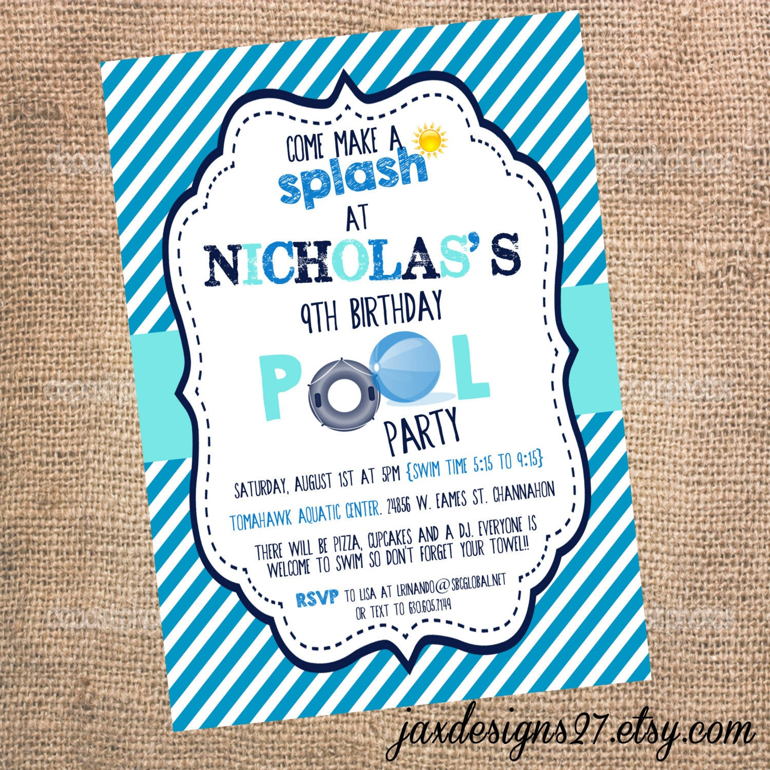Digital kids birthday party invitations pool party zoom monicamarmolfo Image collections