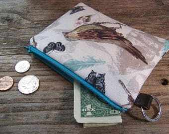 Bird Change purse- Coin purse -  small zipper wallet in a cute bird fabric has a keyring ,will fit all your cards and change.
