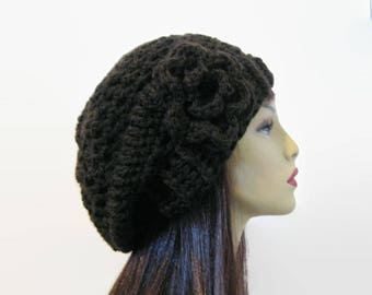 Brown Slouch Hat with Flower Chocolate Crochet Slouchy Hat Brown Slouch knit Tam Slouchy Brown Beanie Dark Brown Hat Slouch Beanie
