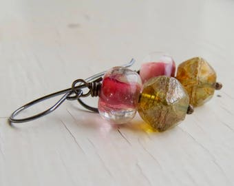 Sunset - handmade artisan bead earrings in magenta, lilac, coral with topaz nuggets with lampwork glass  - Songbead UK, narrative jewelry