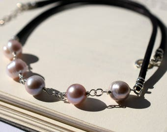 Freshwater Pearl Necklace, Pearl Leather Necklace, Natural Pearl Necklace, Black Leather Necklace, Cream Pearl Sterling Silver Wire Wrapped
