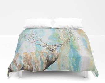 Duvet Cover Deer Tree // Home decor,artwork,abstract,bedroom,comforter,fabric,bedding,bedroom decor,buck,woodland,surreal,enchanted,magical
