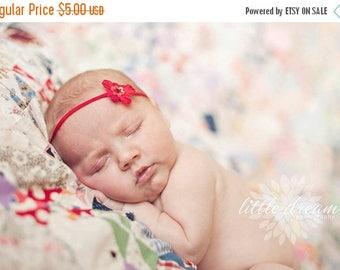SALE Red Petite Flower Skinny Baby Headband - Newborn Baby Girl - Photo Prop - Valentine Headband - Valentine's Day