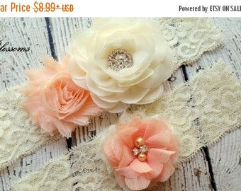 SALE PICK YOUR Color Peach Bridal Garter Set - Ivory Keepsake Toss Wedding Garter - Flower Rhinestone Lace Garters - Vintage Lace Garter - G