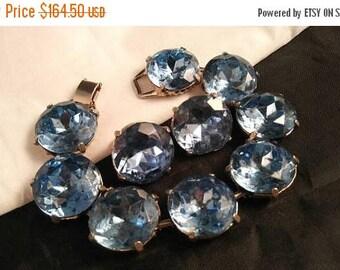 On Sale Chunky Bracelet Earring Set  - Vintage Statement Huge Headlight Blue Rhinestone Demi - Bold Chunky Wide Rare Jewelry - 60's 70's