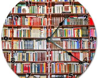 "10.5"" WOODEN BOOKSHELF Clock - Living Room Clock - Large 10.5"" Wall Clock - Home Décor Clock - 5773"
