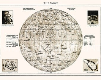 Luna Map. Astronomy, Map of the Moon.  Moon Map.  Astronomy Print Gift for Man. Luna Surface Map. Science of the Heavenly Bodies
