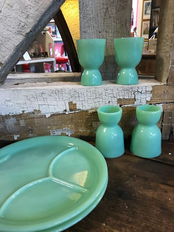 Fire King Jadeite RW Egg Cup Set of 4