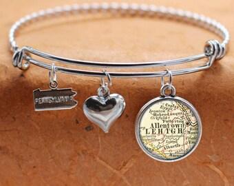 Allentown PA Map Charm Bracelet State of Pennsylvania Bangle Cuff Bracelet Vintage Map Jewelry Stainless Steel Bracelet