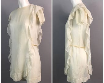 Vintage 1920s Ivory Sheer Cotton Tiered Dress / Women's XS or Teen Girls / Short Sleeve Overlay Flapper Dress AS IS