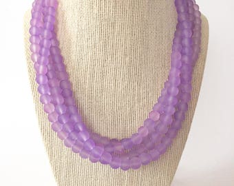 Lavender Sea Glass Chunky Statement Necklace