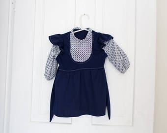 Vintage Baby Dress Vintage Blue White Dress Size 12-18 Months House Dress Buttons One Year