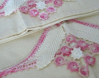Vintage Pillowcase Set - Hand Crochet Edge - Pink - Flower & Feather Design - Standard Size - Cottage Style - Pillowcase