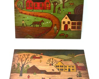 Vintage Folk Art Painting Folk Art Country Scene Farmhouse Decor Modern Farmhouse Set of 2 Paintings on Wood