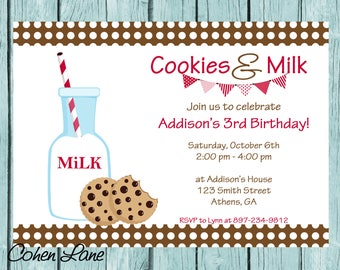 Cookies and Milk Birthday Party Invitation.  Cookies and Milk Invitation.  Milk and Cookies Invite. Digital Invitation. Birthday Invitation.