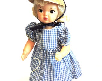 """Blue Gingham Doll Dress, Vintage Handmade Short Sleeve Heart Pocket Day Dress, 16"""" - 18"""", 1950s Mid-Century Doll Clothes itsyourcountry"""