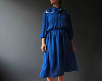 80s Blue White Nautical Sailor Collar Dress Small
