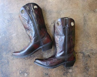 Size 9- 9 1/2 Leather Cowboy Boots / Oxblood Leather Western Boots / Vintage Glossy Leather Shoes